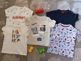 Lote 5 camisetas bebe 12-18m