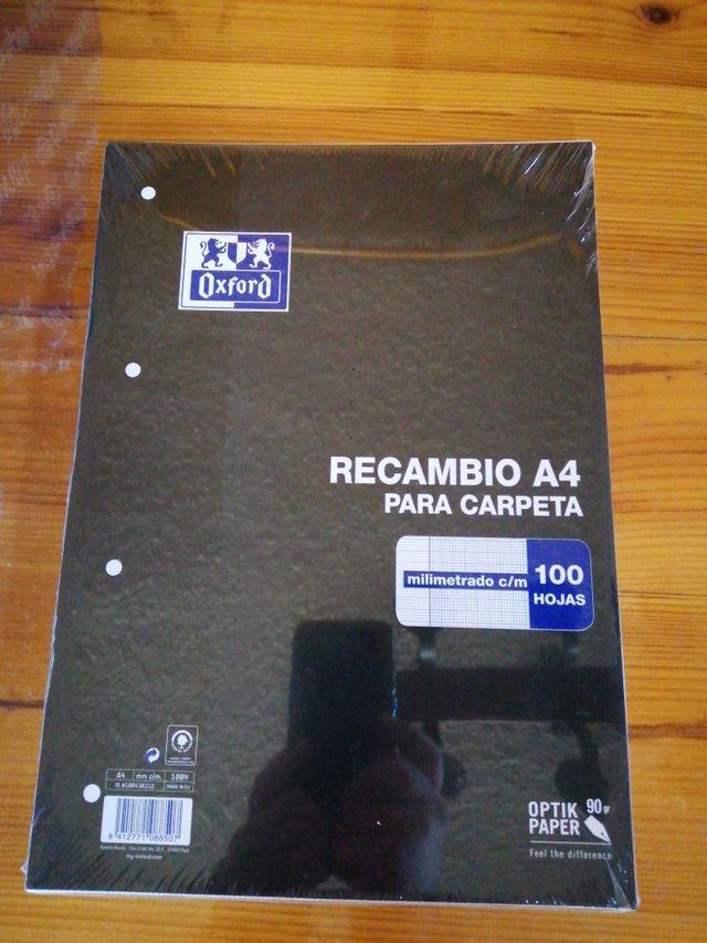 RECAMBIO HOJAS OXFORD A4