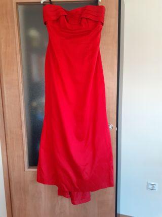 Vestido de fiesta en seda salvaje rojo