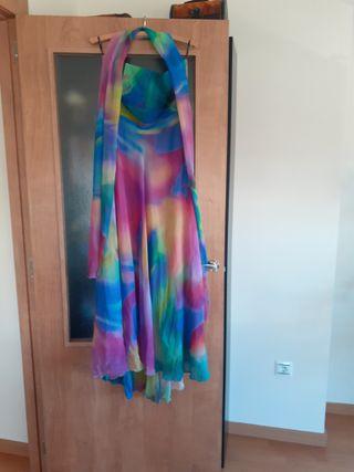 Vestido de fiesta multicolor en gasa
