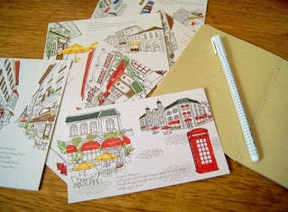 Lote 15 postales ilustraciones Paris Londres