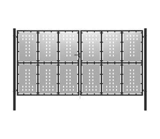 Puerta de jardín de acero plateado 400x200 cm