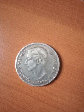 moneda 5 pesetas plata