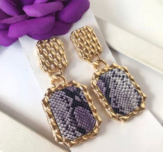 Amazing Gold and Animal print drop Earrings Brand