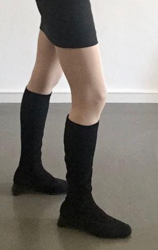 bottes Accessoires noires chevreau velours strech