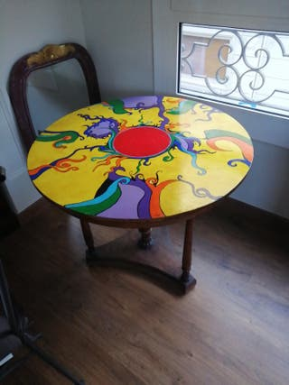 mesa de centro artesana madera