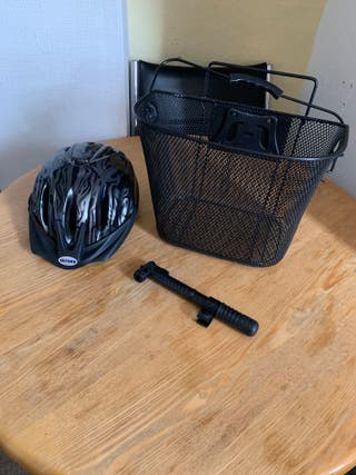 New Bicycle Basket and Helmet Never Used