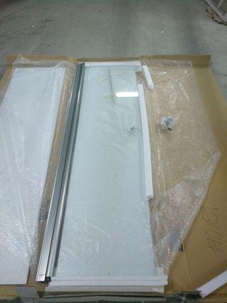 Puerta para ducha cristal y acero inox