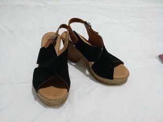 Zapatos de plataforma negros/marrón camel