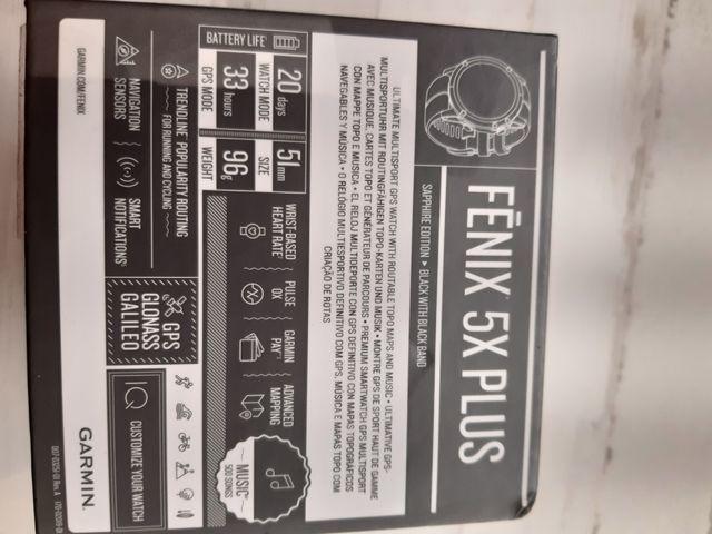 GARMIN FENIX 5X PLUS Negro SAPPHIRE EDITION
