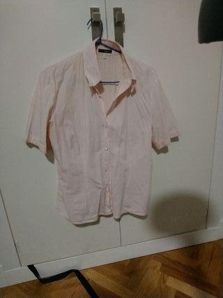 Camisa elegante blanca y rosa, talla 42