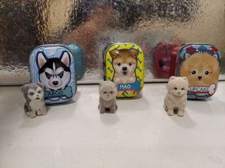3 mini perros de colección miden unos 2ctros