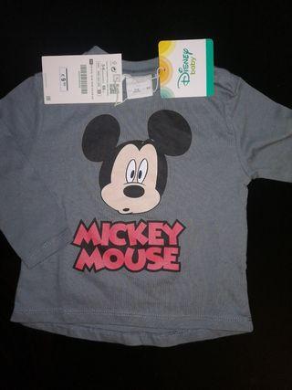camiseta nueva mickey bebé 6-9 meses