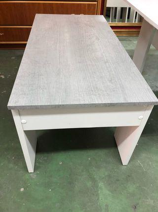 Mesa de centro elevable blanca y gris