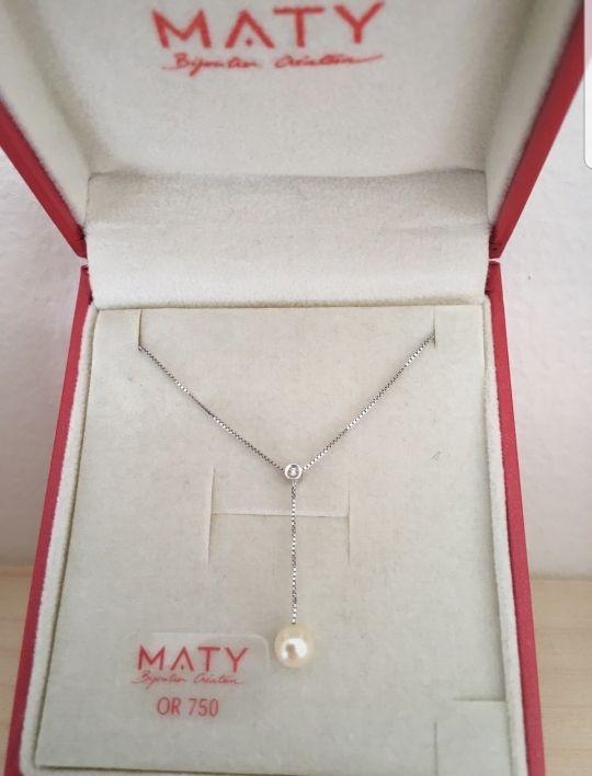 collar de oro perla y diamante