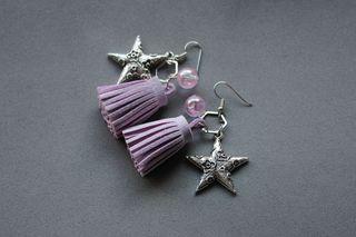 pendientes con borlas hecho a mano lila