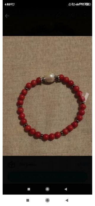pulsera coral y perla cultivada