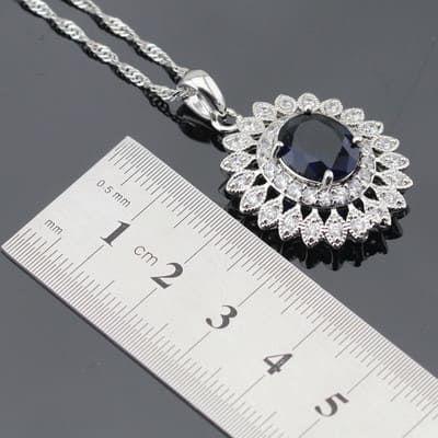 Collar Zirconia Color Plata y Azul