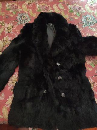 abrigo piel de conejo blanco