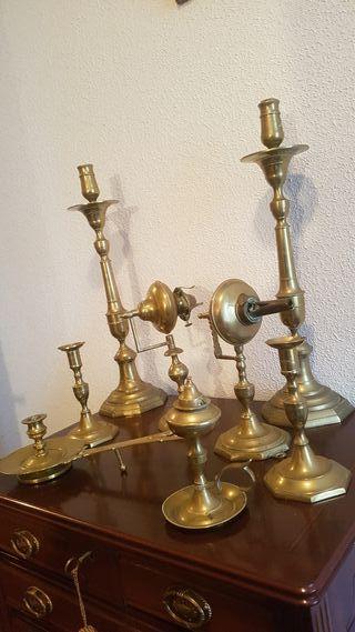lote vintage de porta velas y lamparas