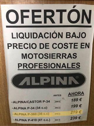 Motosierra profesional ALPINA P-36 (36c.c.).NUEVA