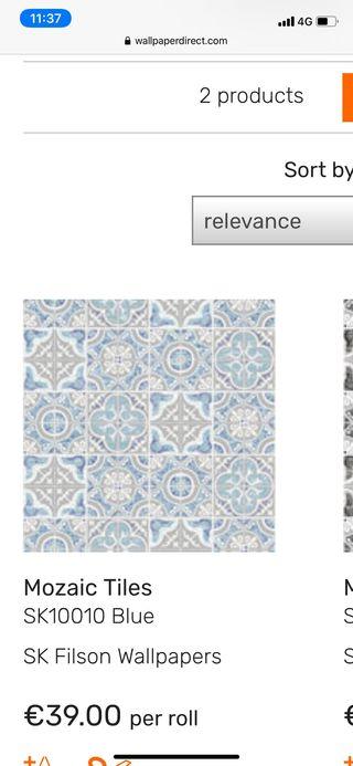 Papel pintado mosaico/ azulejo (2 rollos)