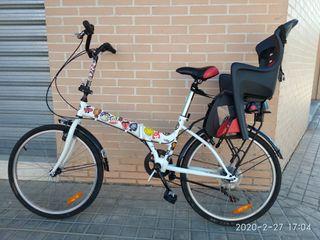 bicicleta plegable silla niño