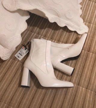 Botines de piel blancos Zara Talla 38