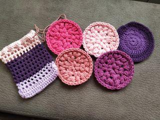 Pack 5 Discos de algodón reutilizables crochet
