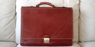 Maletin piel auténtica marrón. Genuine Leather