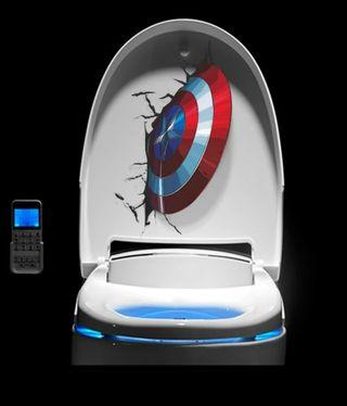 Pegatina para poner en taza wc. Capitán América.