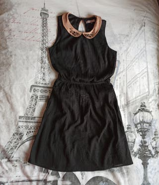 vestido negro de gasa,talla S, Bershka