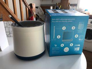 Maceta filtrante de aire I Blanca y azul