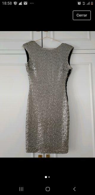 Vestido con lentejuelas Zara, talla M