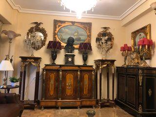 Mueble estilo imperio en bronce y mármol