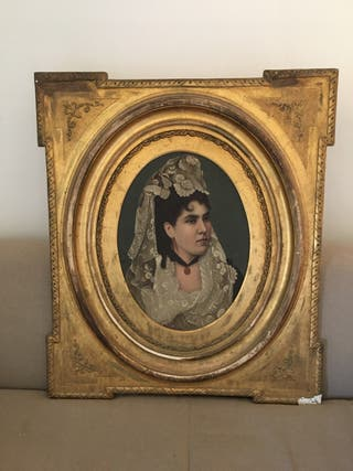 Retrato antiguo óleo mujer