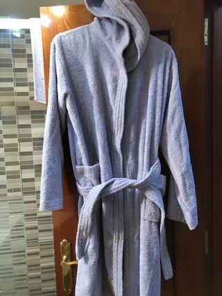 Albornoz de baño con capucha, azul