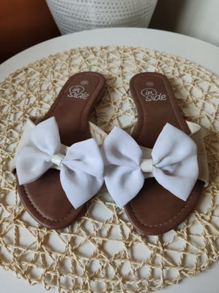 sandalias lazo blanco