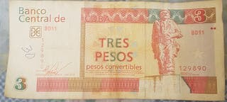 Billete cubano de 3 pesos.