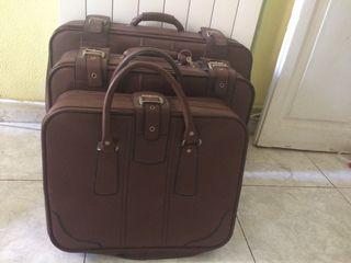 Juego maletas piel de viaje vintage