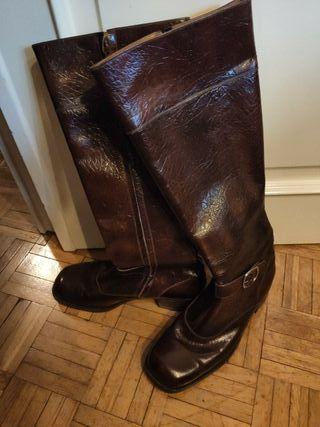 botas caballero caña alta talla 42 de cuero marrón