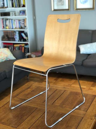 6 sillas apilables madera pata metalica