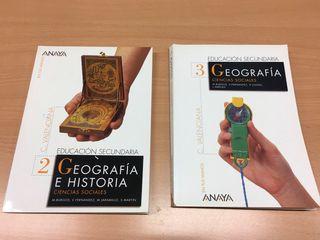 lote libros geografia e historia anaya 1 y 3 ESO