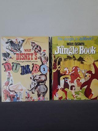 Póster metálico clásico Walt Disney Dumbo y Libro