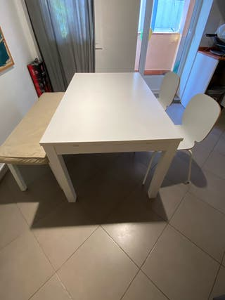 Pack comedor, mesa desplegable + sillas + banco