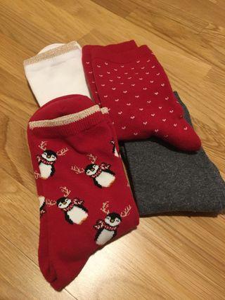 Pack calcetines 36 beig, gris y rojos a estrenar