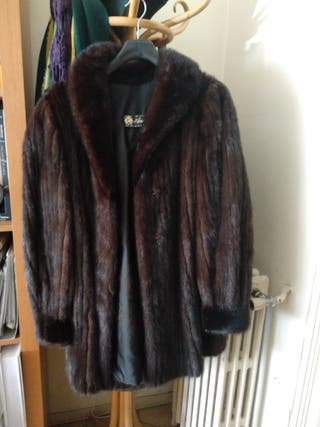 abrigo 3/4 piel natural de visón