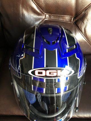OHK blue, black and white motorbike helmet