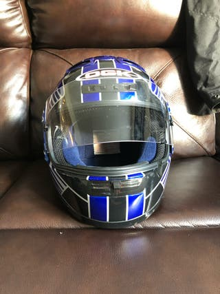 OHK blue, black and white motorbike helmet