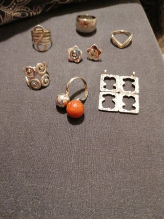 anillos, pendientes y colgante de plata
